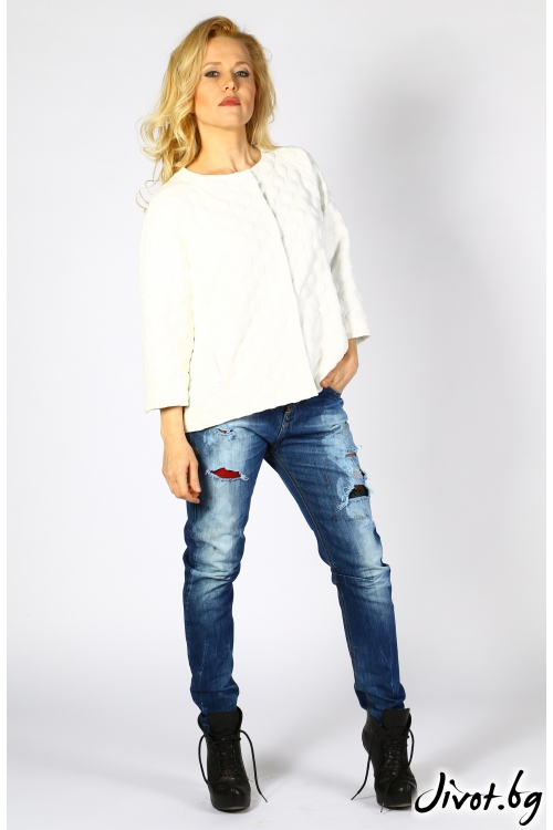 Бяло дамско яке с 3D ефект и контрастна подплата / Модна къща АМБИЦИЯ