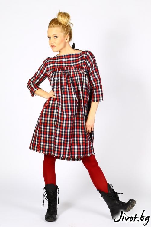 Червена рокля на каре с джобове / Райна Косовска