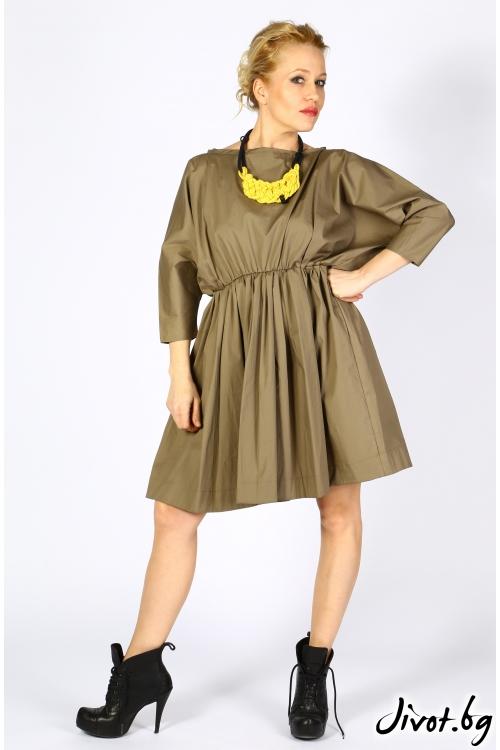 Красива рокля с обемни ръкави и ластик на талията / VESTITI