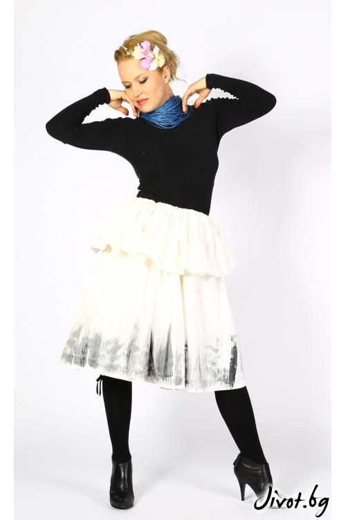 Бяла пола/рокля от памучна тафта / VESTITI