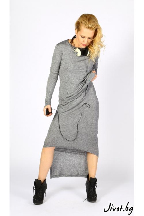 Памучна сива рокля от две части / VESTITI