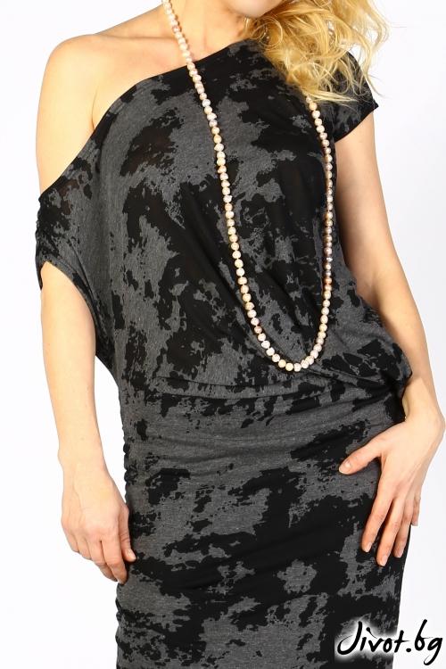 Дълга рокля от памук и вискоза в черно и сиво / VESTITI