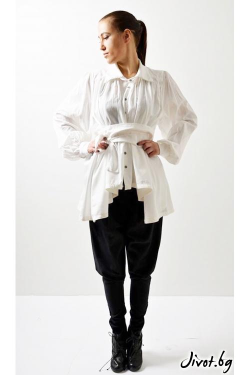Бяла дамска риза с обемни ръкави и колан / VESTITI
