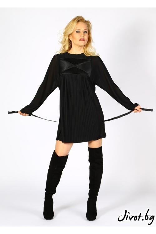Ефектна черна рокля с еко кожа Модна къща АМБИЦИЯ