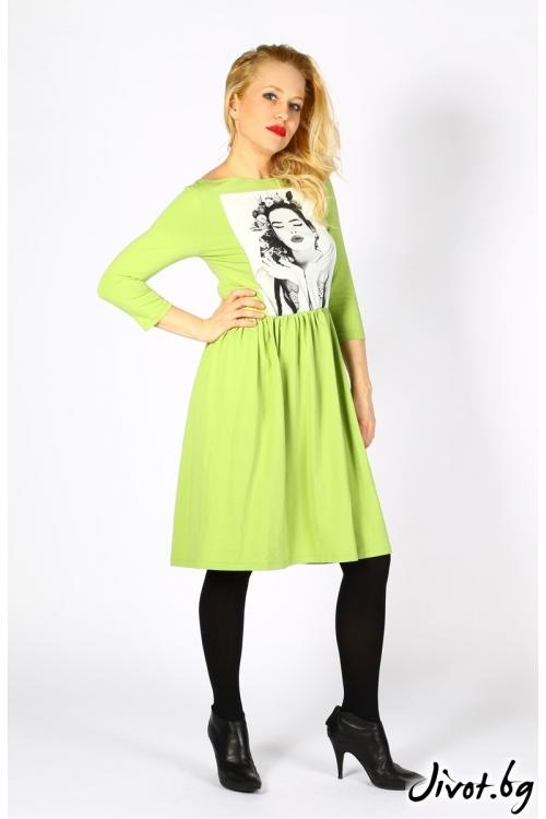 Зелена рокля със щампа / VЯRA за MUSE SHOP