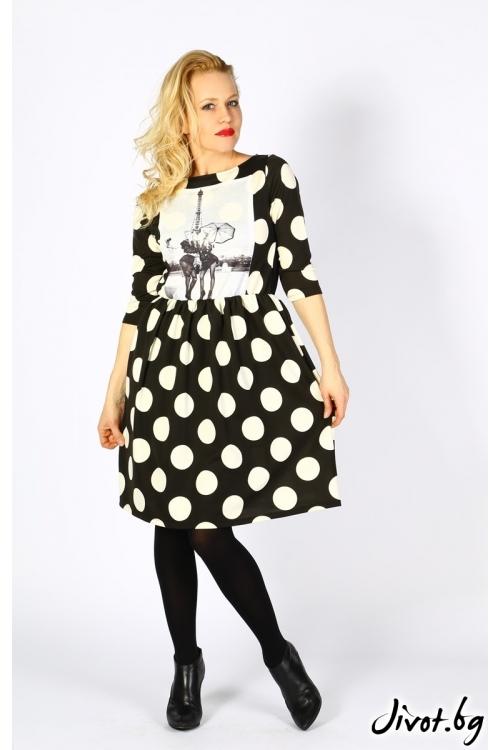 Черна дамска рокля с бели точки и ефектна щампа / VЯRA за MUSE SHOP