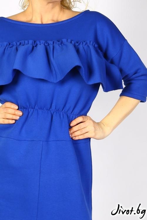 Синя къса рокля с волани / VЯRA за MUSE SHOP