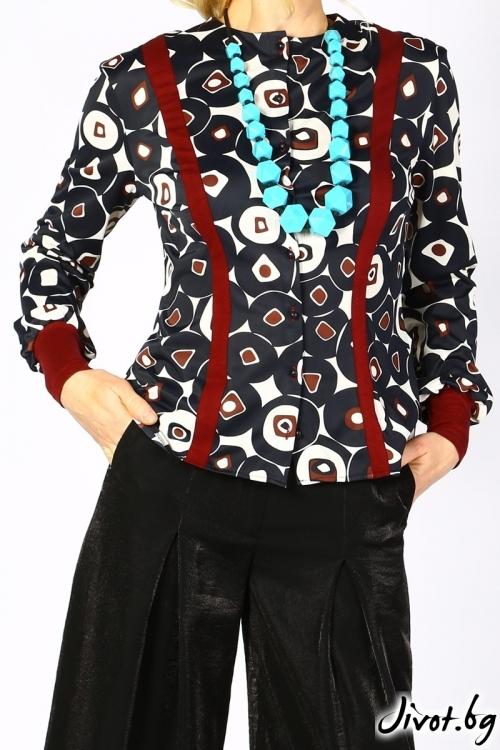 Елегантна блуза от жарсе с ефектни кантове и маншети в цвят бордо / Модна къща АМБИЦИЯ