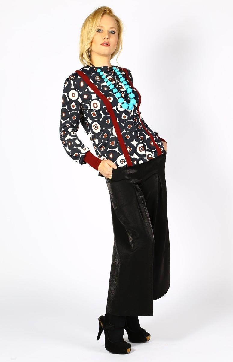 Черен панталон с виока талия / Модна къща АМБИЦИЯ
