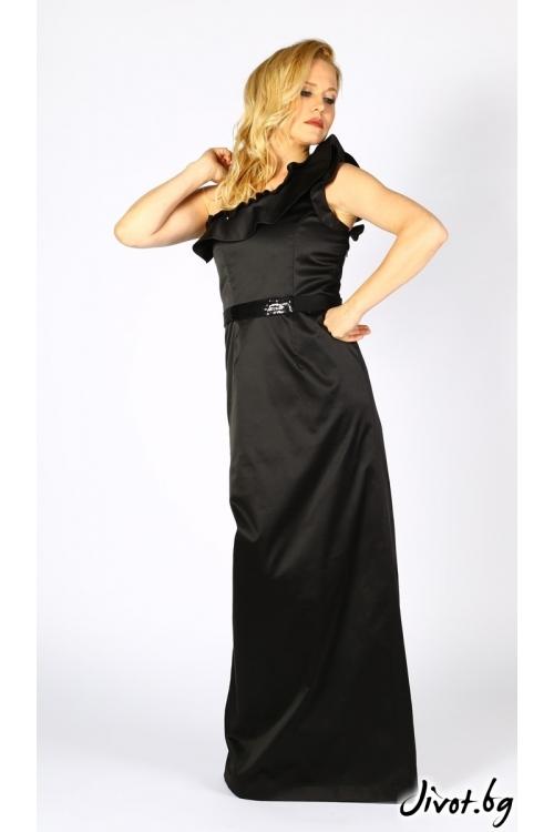 Фамозна дълга черна рокля с едно рамо от сатен / Модна къща АМБИЦИЯ