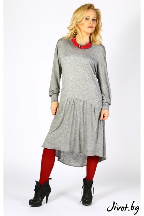 Сива ежедневна рокля със свободен силует / Модна къща АМБИЦИЯ