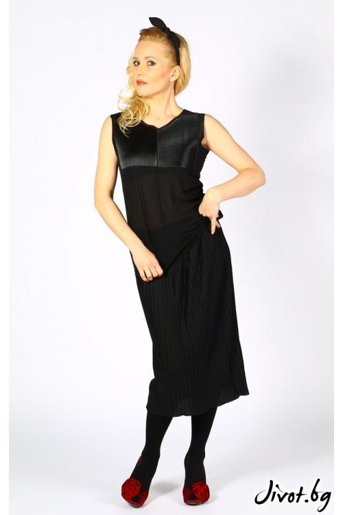 Дамска черна блуза без ръкави с декорация от еко кожа / Модна къща АМБИЦИЯ