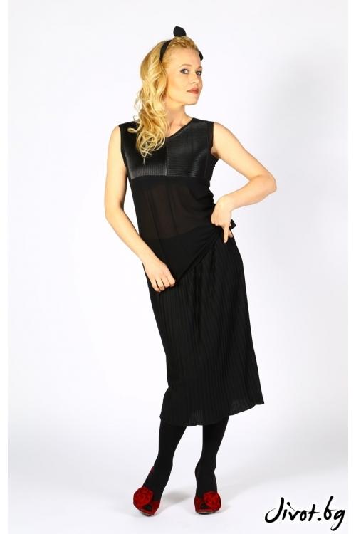 Черна блуза без ръкави с гарнитура от кожа / Модна къща АМБИЦИЯ