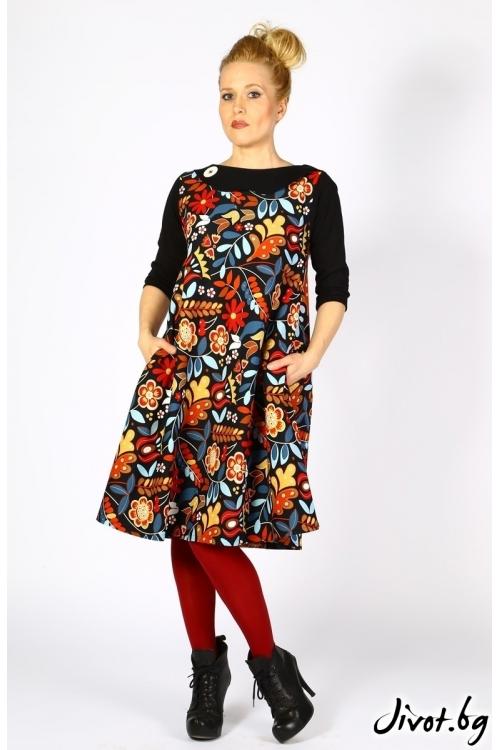 Цветна дамска рокля с джобове / Райна Косовска