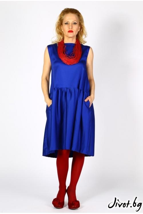 Синя дамска рокля от сатениран памук / LALLA