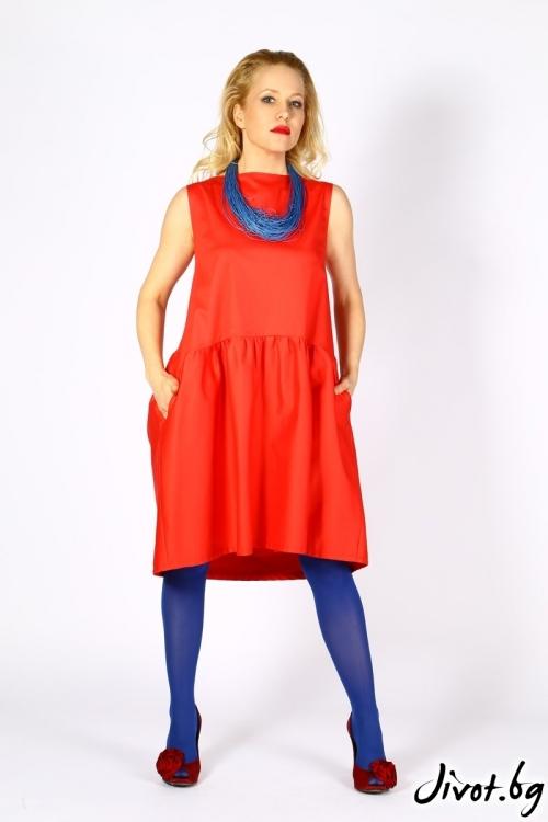 Коралово червена дамска рокля от сатениран памук / LALLA