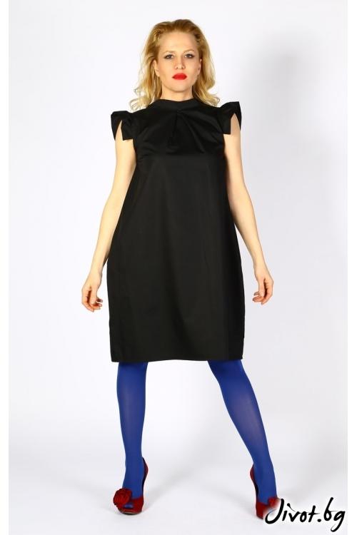 Черна рокля с панделка на гърба и закачливи ръкави / LALLA