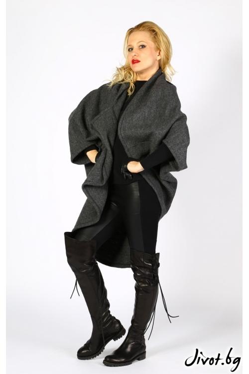 Вълнено асиметрично палто в тъмно сив цвят / LALLA