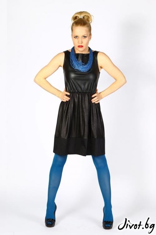 Къса черна дамска рокля от еко кожа / VЯRA за MUSE SHOP