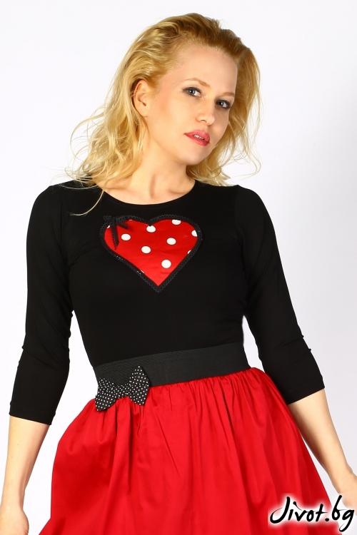 Черна дамска блуза с червено сърце на точки / Cherie Marie