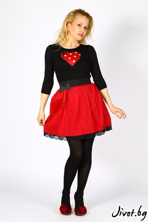 Червена дамска пола с дантела и панделка / Cherie Marie