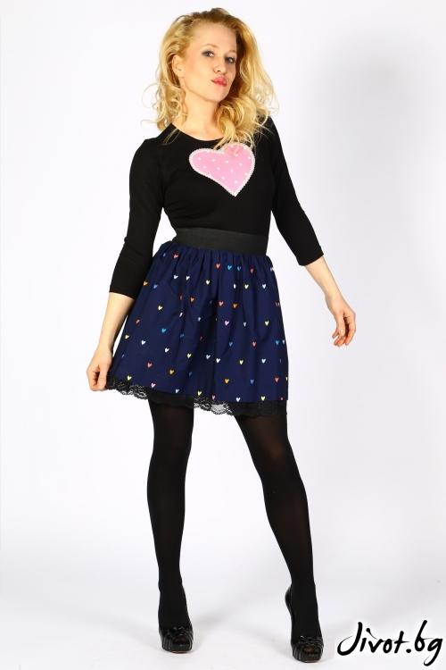 Синя пола на сърчица с дантела / Cherie Marie