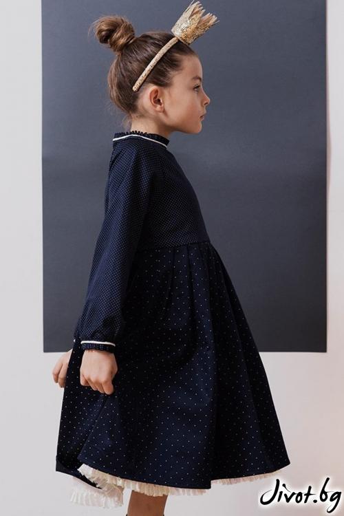 Детска рокля в тъмнo син цвят на точки / TIN TIN