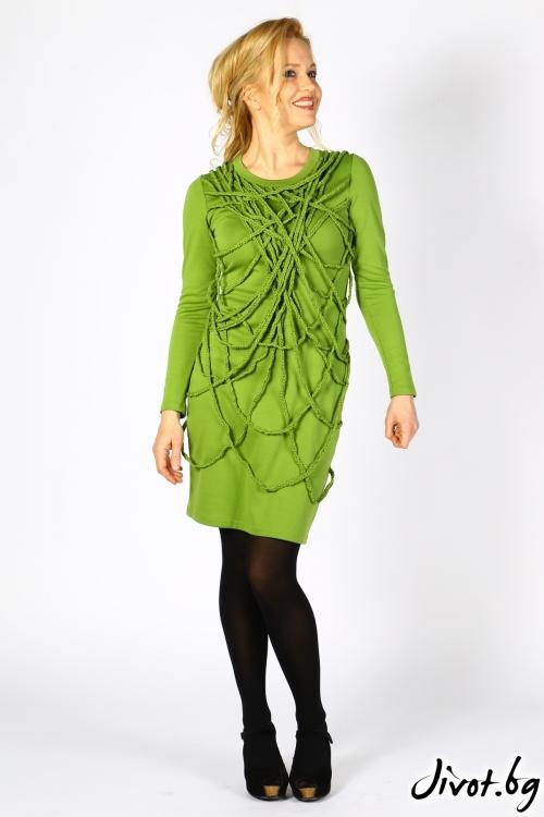 Зелена къса дамска рокля с декорация / Polina Petrova