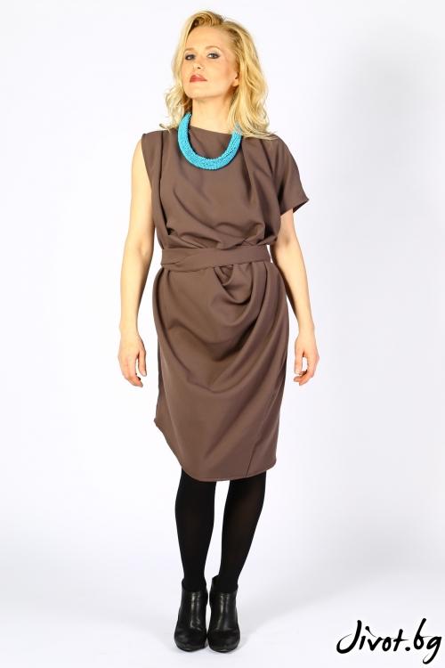 Дамска рокля в цвят капучино / Polina Petrova