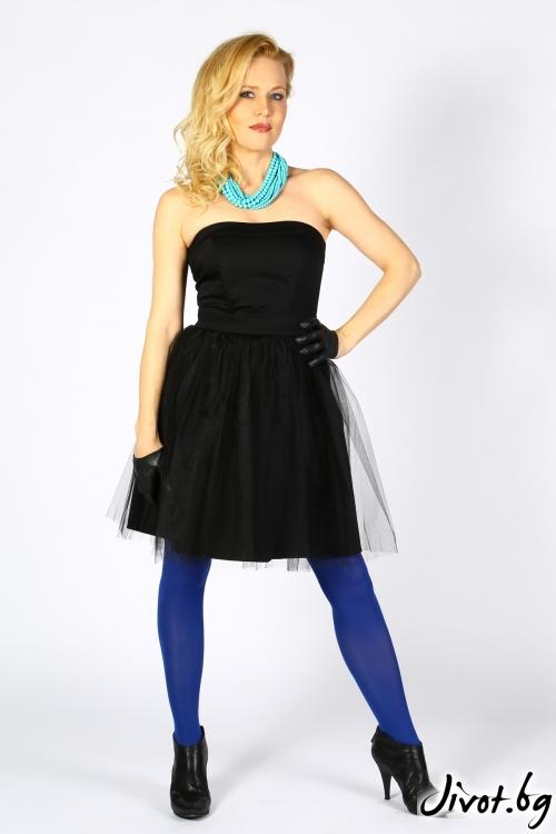 Красива черна къса рокля с тюл / Polina Petrova