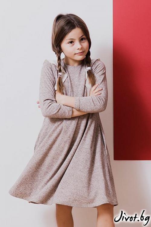 Детска рокля с къдрички в светло кафяв меланж / TIN TIN
