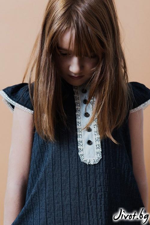 Прелестна детска рокля с къс ръкав и дантела / TIN TIN