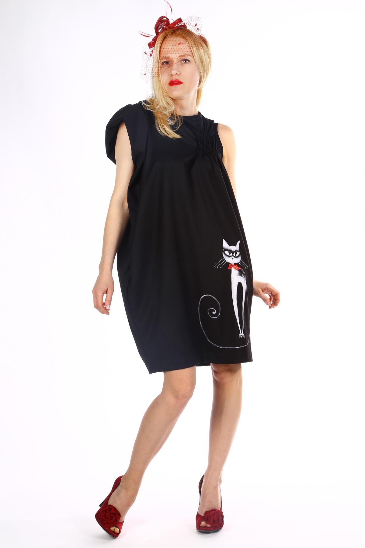 Черна дамска рокля с ръчно рисуван котарак / SHOP MY J