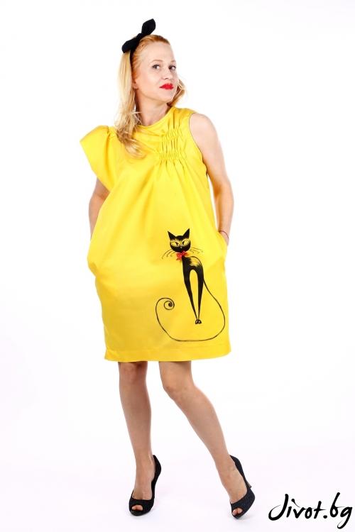 Жълта рокля с ръчно рисуван котарак / SHOP MY J