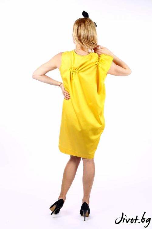 Дамска жълта рокля с ръчно рисуван котарак / SHOP MY J