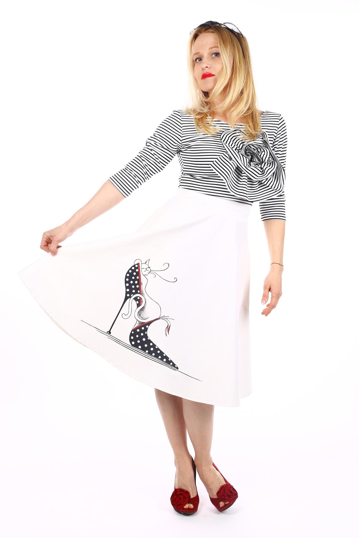 Бяла дамска клош пола с ръчно рисувана котка / SHOP MY J