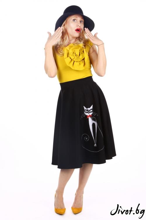 Дамска черна веревна пола с ръчно рисувана котка / SHOP MY J