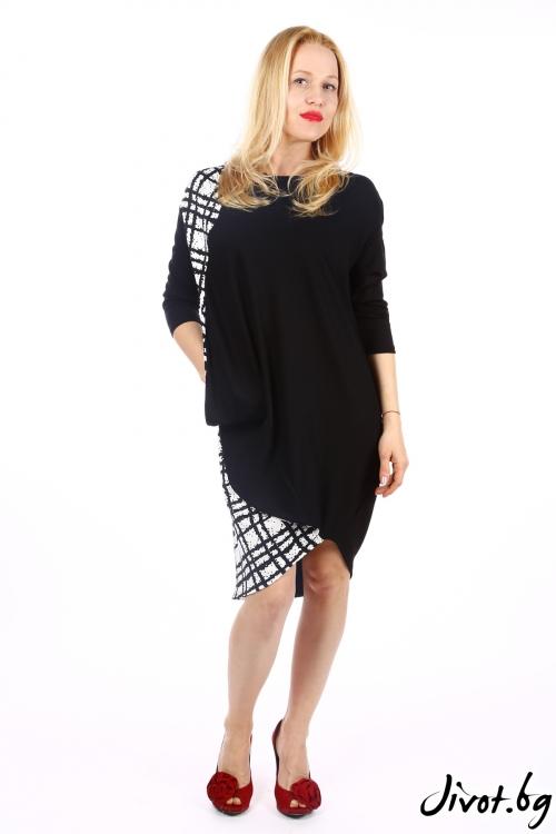 Дамска рокля със свободен асиметричен силует в черно и бяло / SHOP MY J