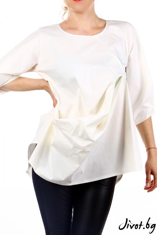 Ефектна дамска бяла блуза / Handmade by Monkey Fiction