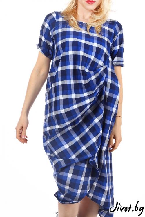 Разкошна асиметрична рокля в синьо / Handmade by Monkey Fiction