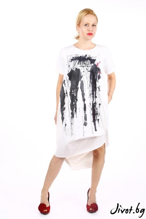Ръчно рисувана бяла рокля със свободен силует / Handmade by Monkey Fiction