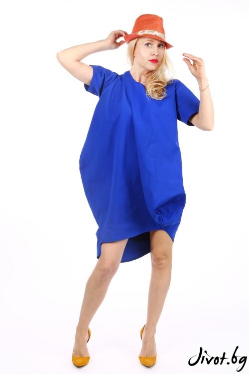 Синя дамска рокля със свободен силует / Handmade by Monkey Fiction
