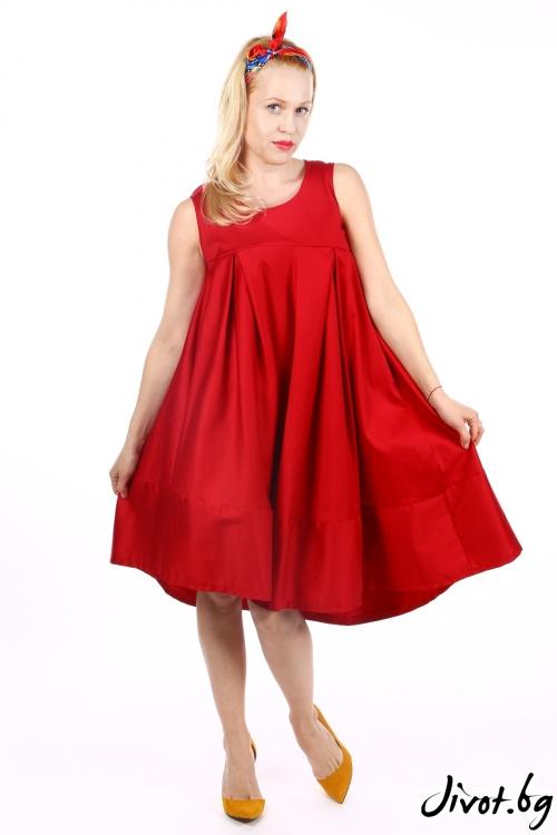Червена асиметрична рокля с плохи / Handmade by Monkey Fiction