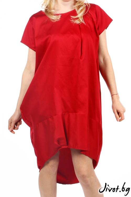 Дамска червена рокля тип балон / Handmade by Monkey Fiction