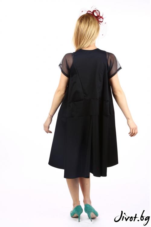 Черна дамска рокля с мрежести ръкави / Handmade by Monkey Fiction