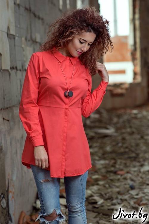 Вталена дамска риза с асиметрична кройка / GUGOSHEVA