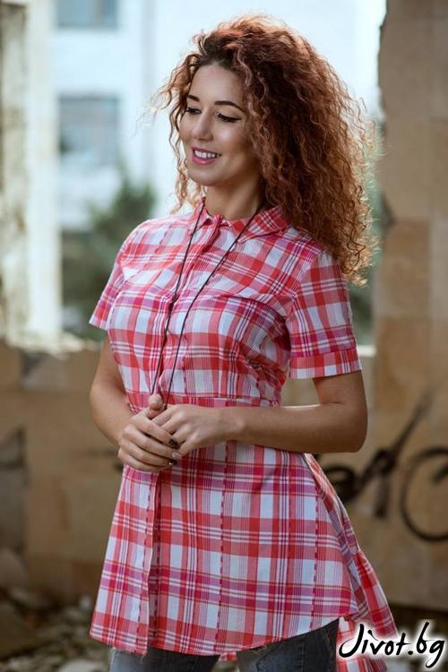 Асиметрична риза с къс ръкав / GUGOSHEVA