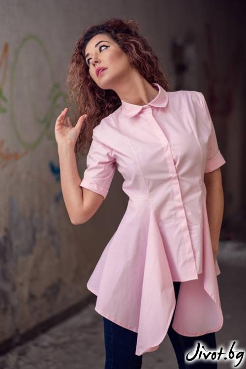 Дамска риза с къси ръкави в нежно розов цвят / GUGOSHEVA