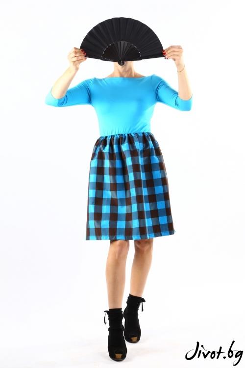 Красива дамска тюркоазена рокля с каре / VЯRA за MUSE SHOP