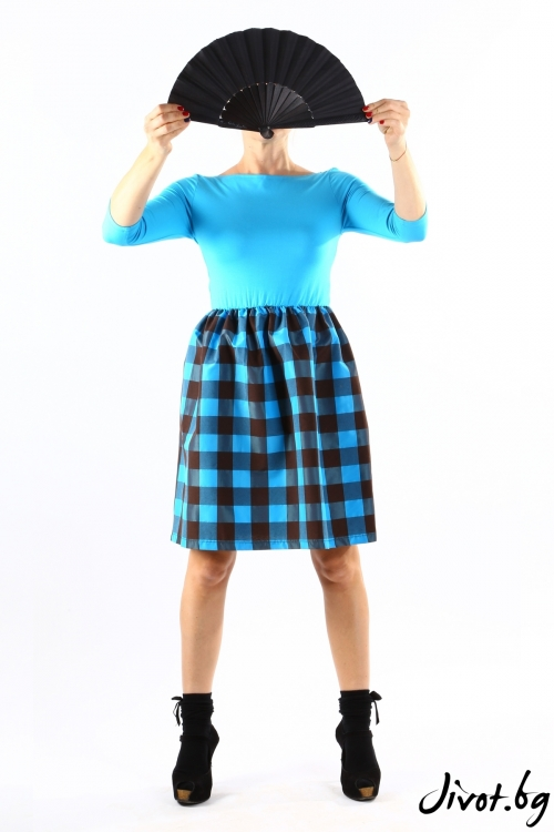 Красива дамска тюкоазена рокля с каре / VЯRA за MUSE SHOP